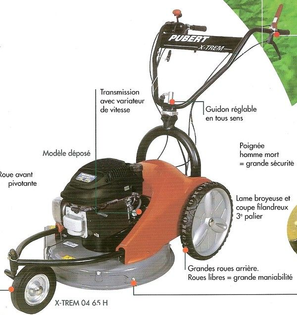 Tondeuse ou d broussailleuse sur roues - Ramasse herbe tracte ...